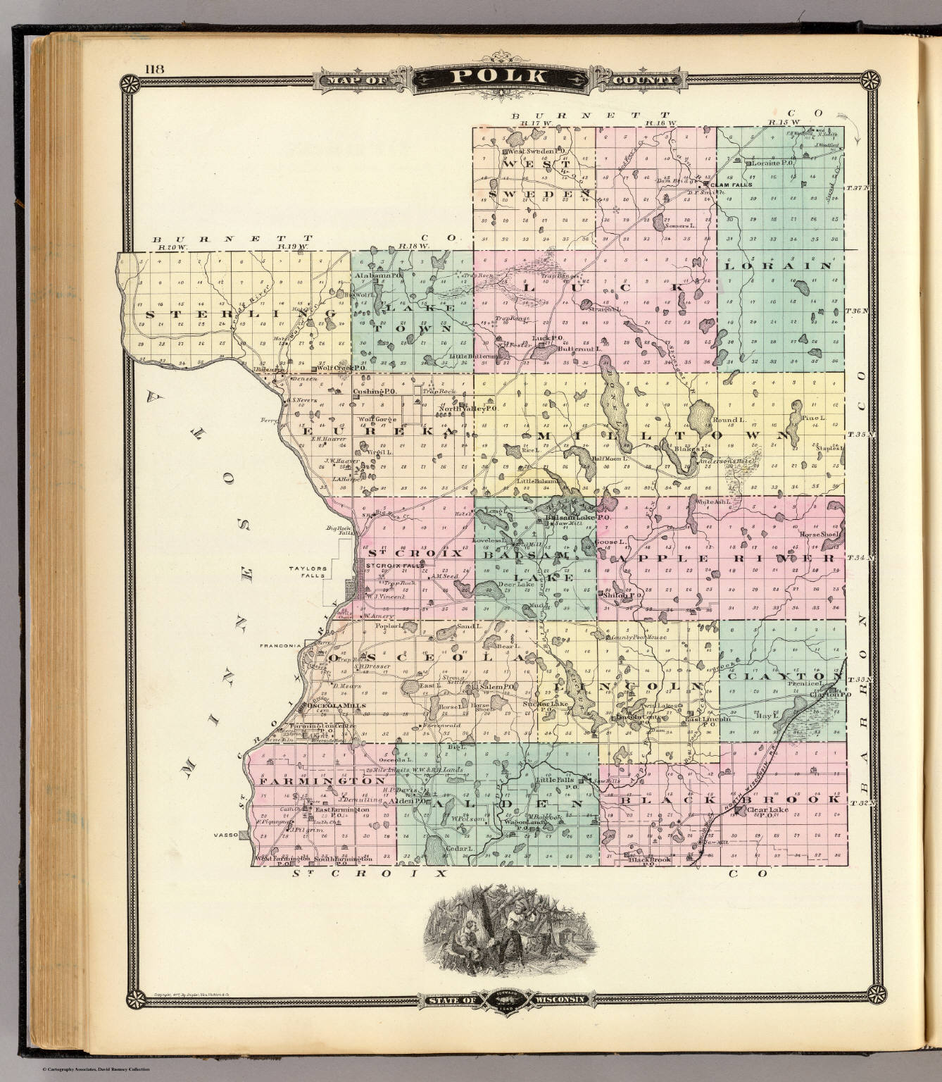 Map Of Polk County State Of Wisconsin David Rumsey Historical