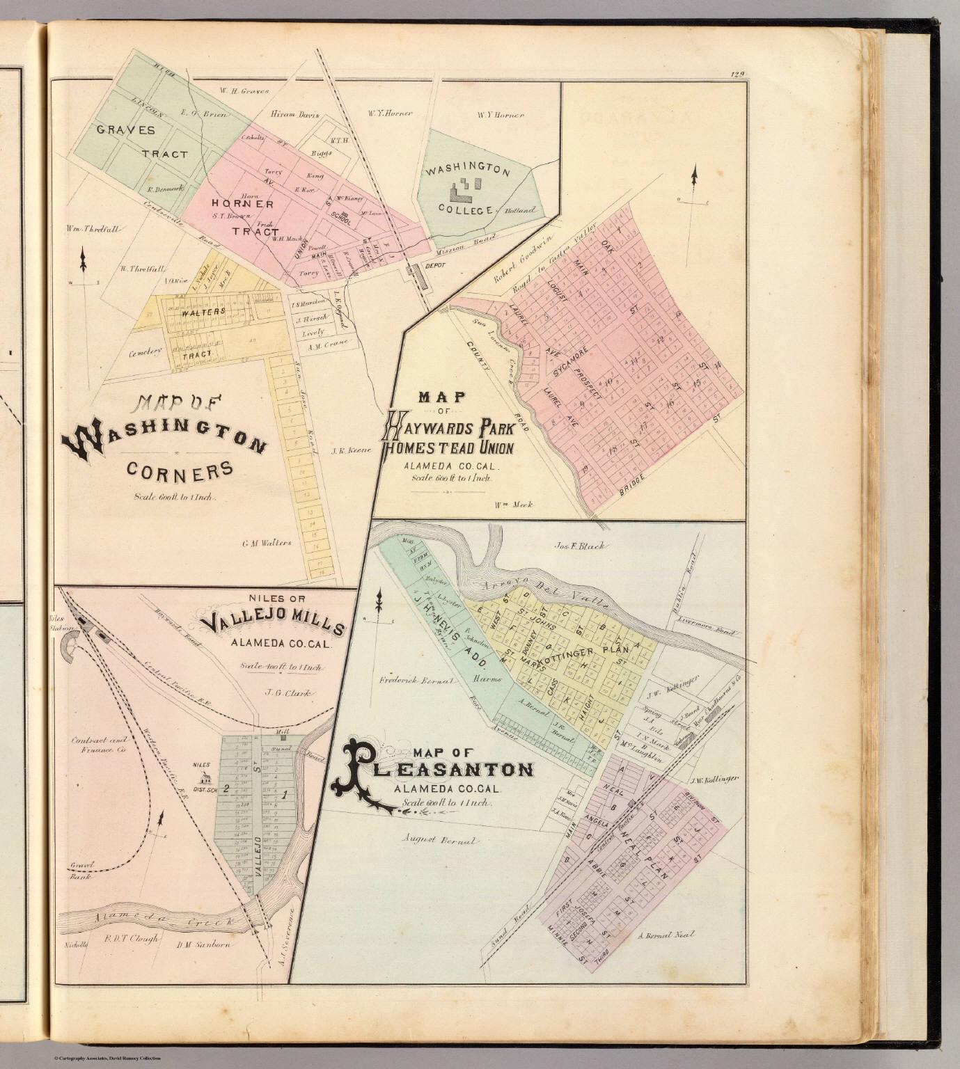 Wash. Corners, Haywards Park, Niles, Pleasanton.