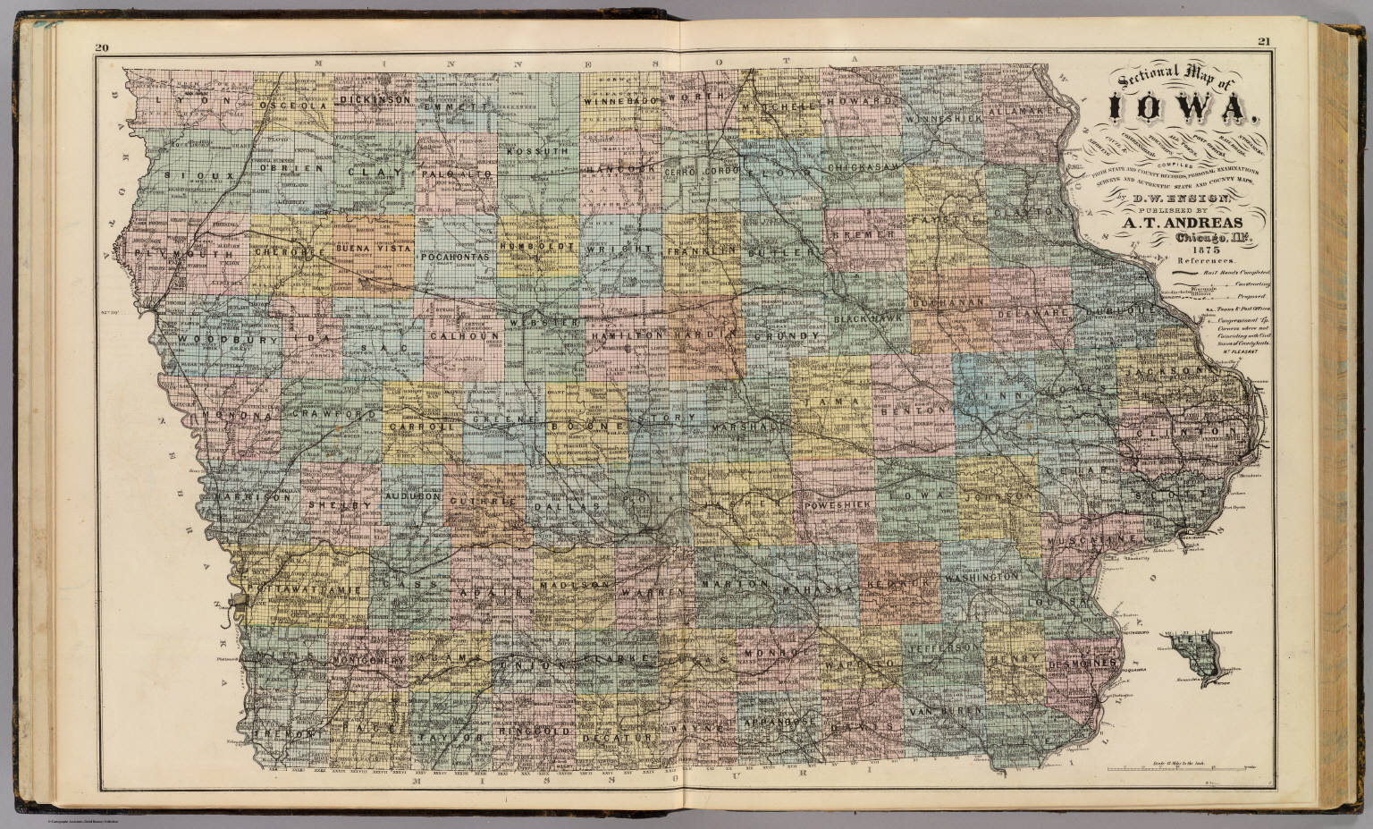 Sectional Map Of Iowa Ensign D W 1875