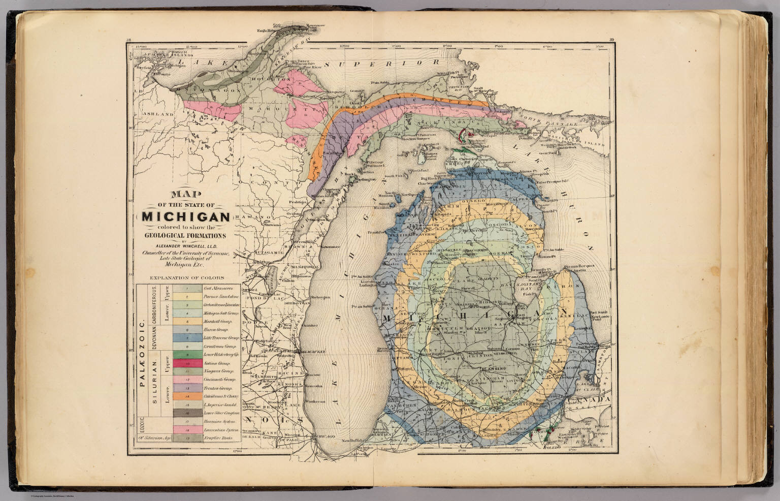 Map Of The State Of Michigan Colored To Show The Geological