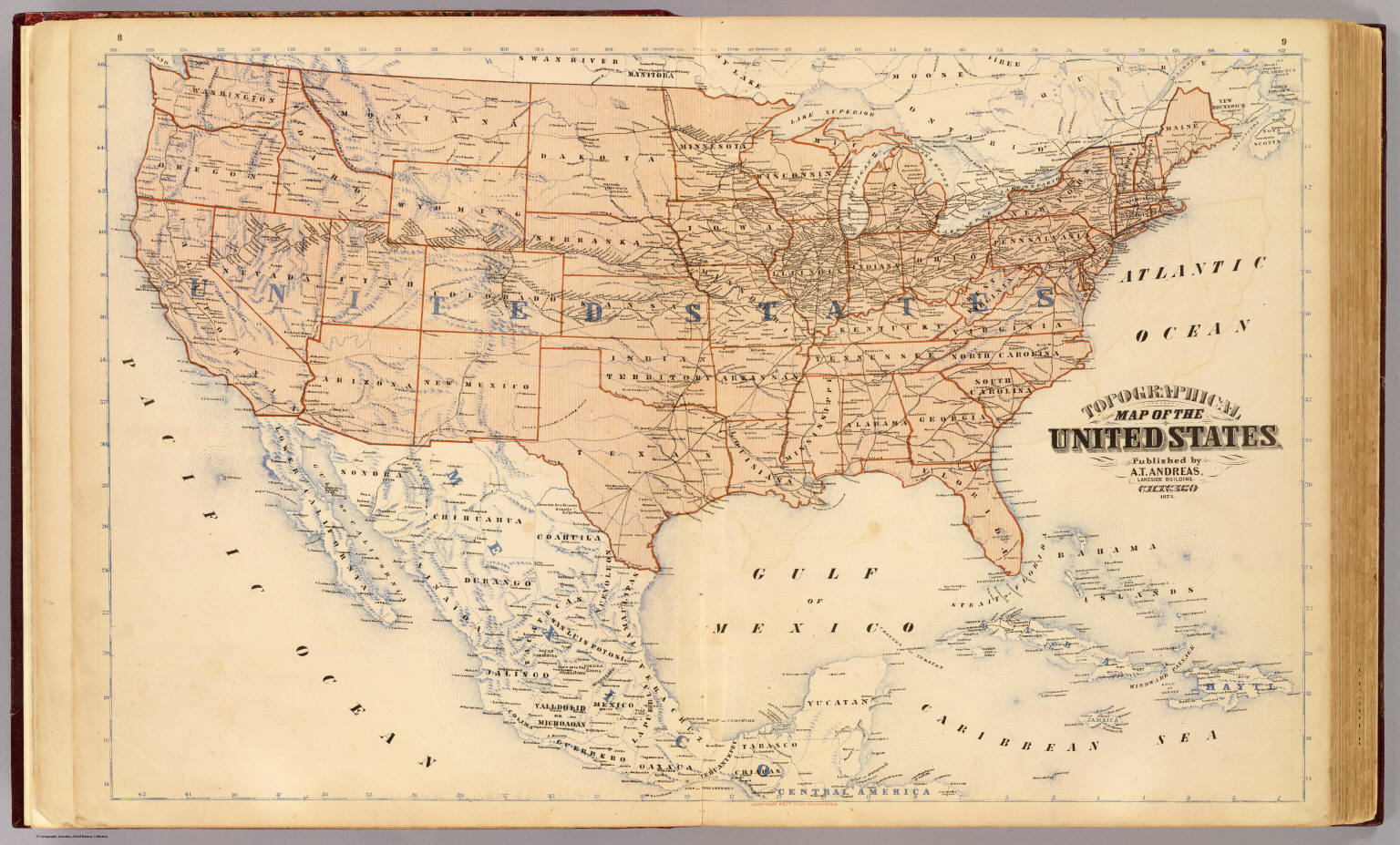 Topographical map of the United States David Rumsey Historical