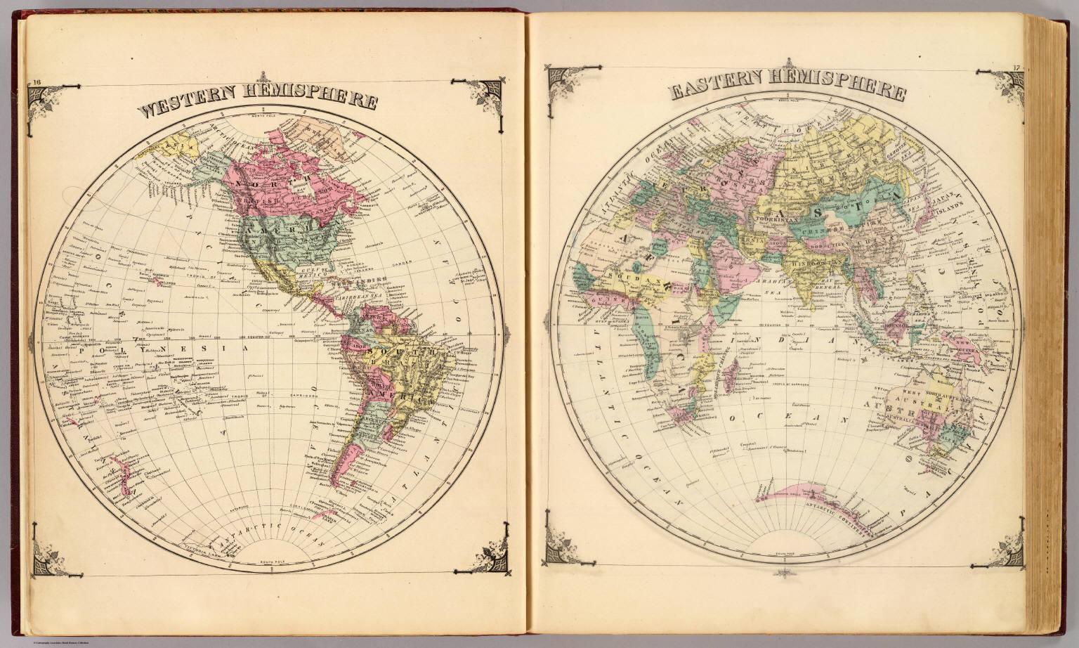 Western Hemisphere. Eastern Hemisphere. - David Rumsey Historical ...