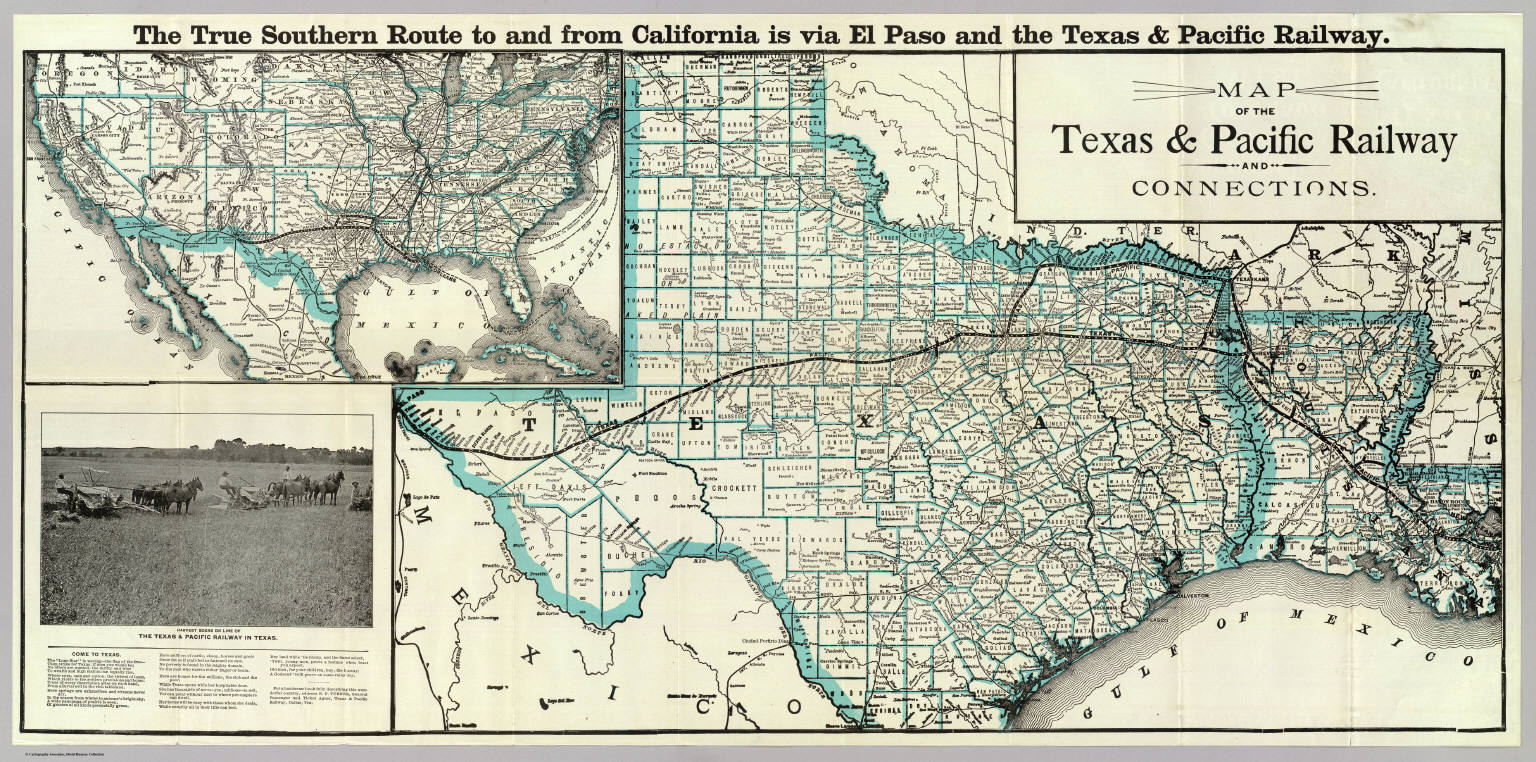 Railroad Map Of Texas.Map Texas Pacific Railway Connections Texas And Pacific