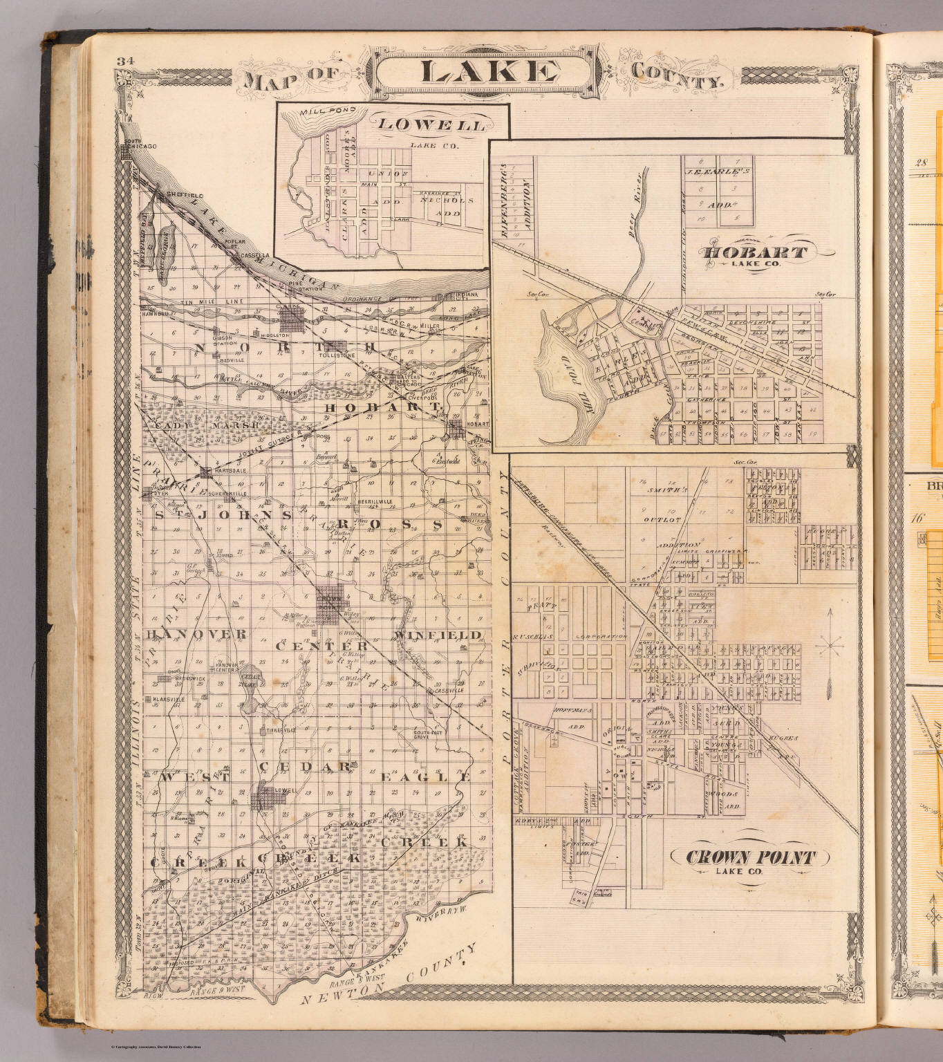 Map Of Lake County With Lowell Hobart Crown Point David
