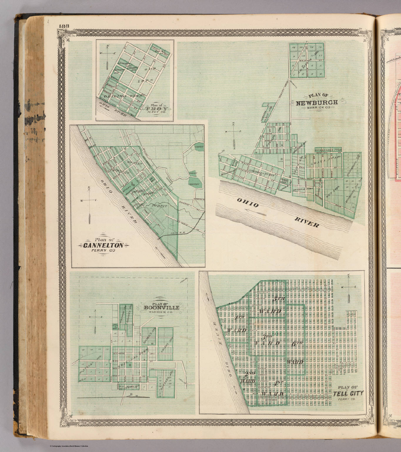 Plan of Newburgh, Warrick Co. (with) Boonville, Troy, Cannelton, Tell City.
