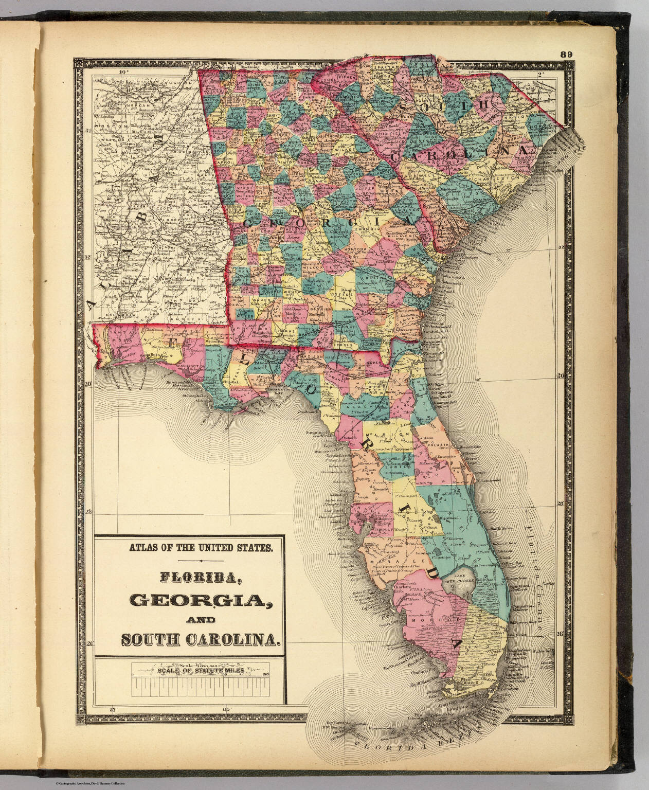 Florida And Georgia Map.Florida Georgia And South Carolina David Rumsey Historical Map