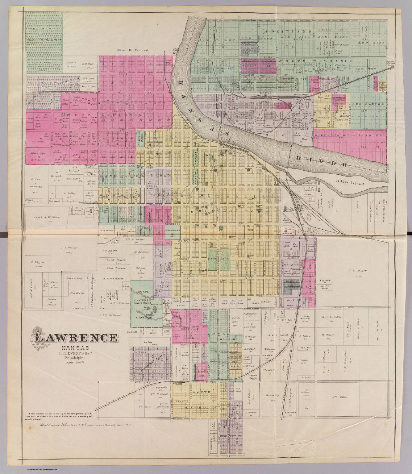 Map Of Lawrence Ks Lawrence, Kansas.   David Rumsey Historical Map Collection Map Of Lawrence Ks