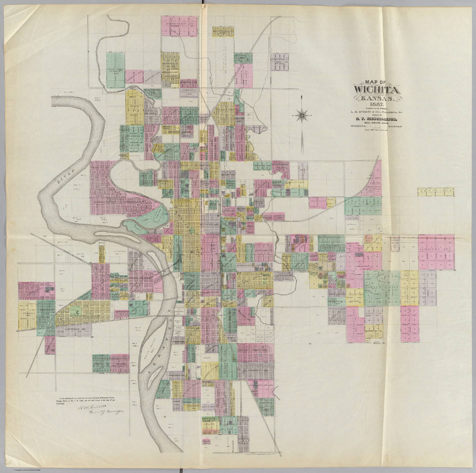Old Kansas Map.Map Of Wichita Kansas L H Everts Co Niederlander N F