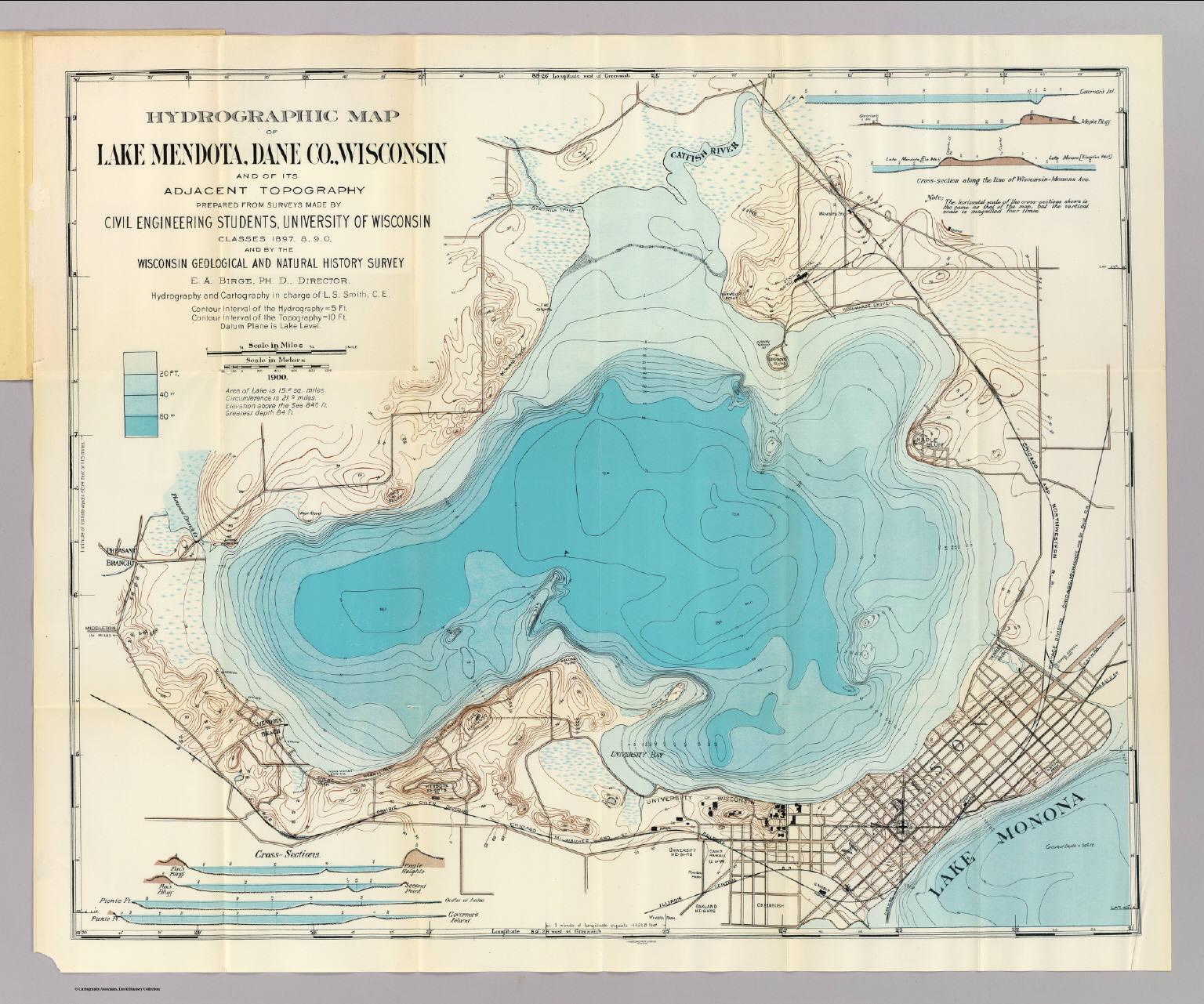 Hydrographic Map Lake Mendota Wisconsin Geological And Natural - Wisconsin topographic lake maps
