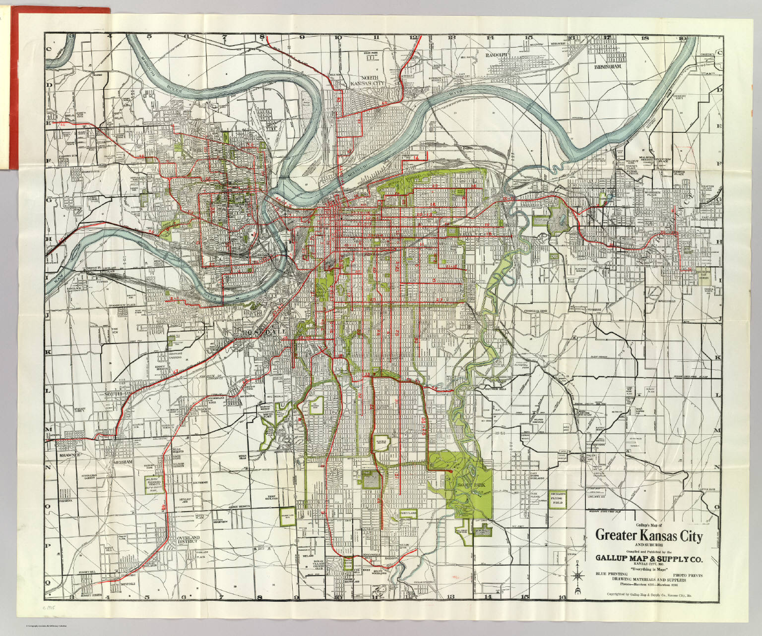 Kansas City Streetcar Map Greater Kansas City. / Gallup Map & Supply Company / 1920 Kansas City Streetcar Map