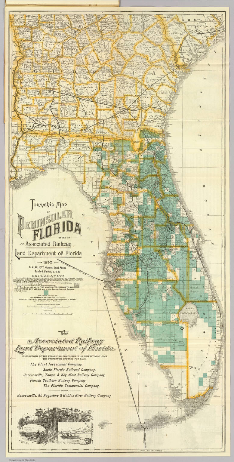 Florida Railroad Map.Township Map Florida David Rumsey Historical Map Collection