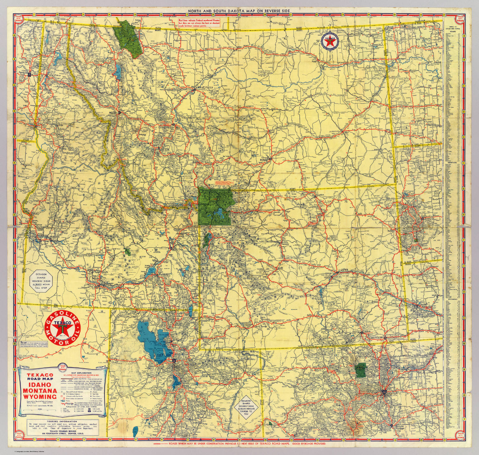 Road map Idaho, Mont., Wyo. - David Rumsey Historical Map ...