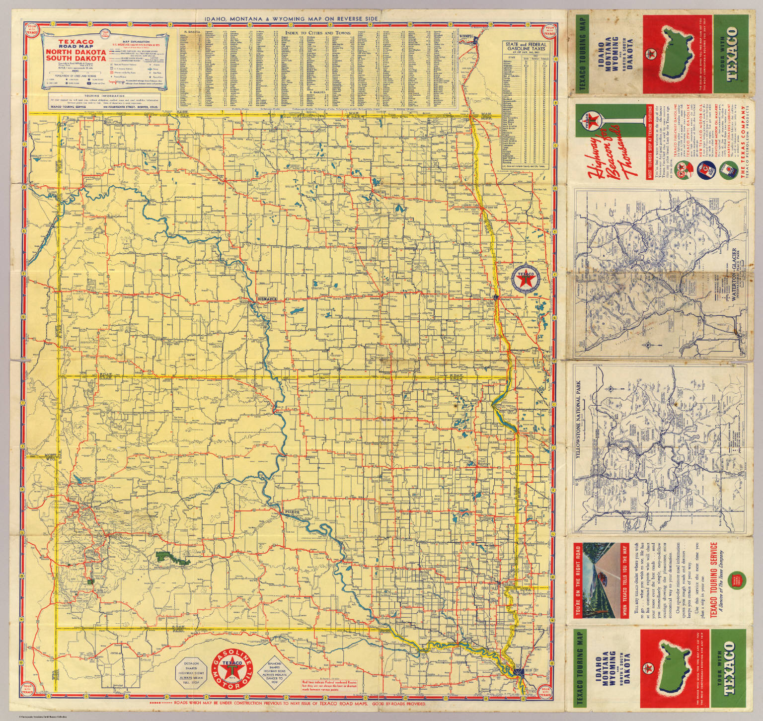 Road map N S Dakota David Rumsey Historical Map Collection