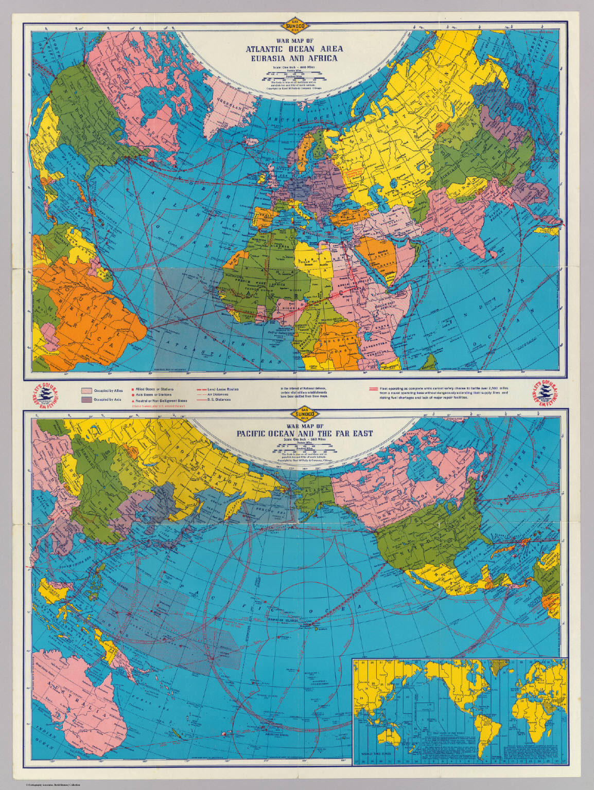 War map Atlantic, Eurasia, Africa, Pacific Ocean. / Rand ...