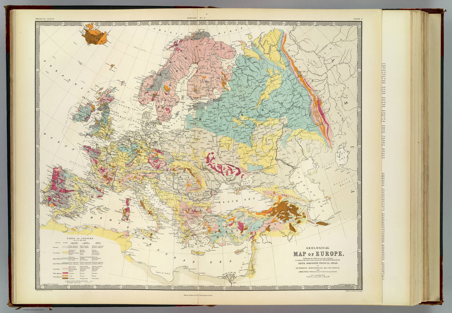 Map Of Europe In 1871.Geological Map Europe Murchison Roderick Impey Sir 1792 1871