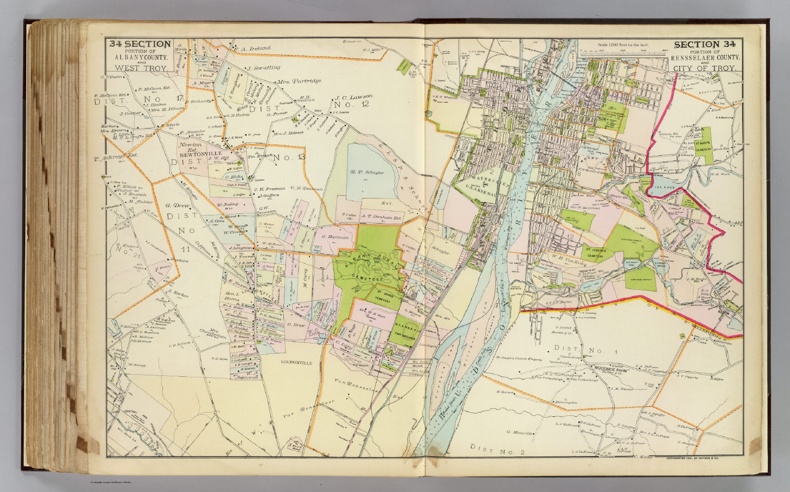 Albany New York Zip Code Map.34 Albany Rensselaer Counties Troy David Rumsey Historical Map