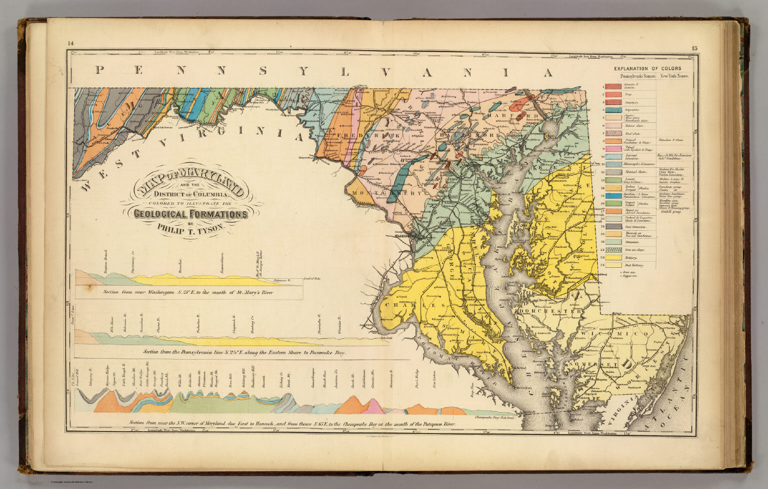 Map of Maryland and the District of Columbia geological formations ...