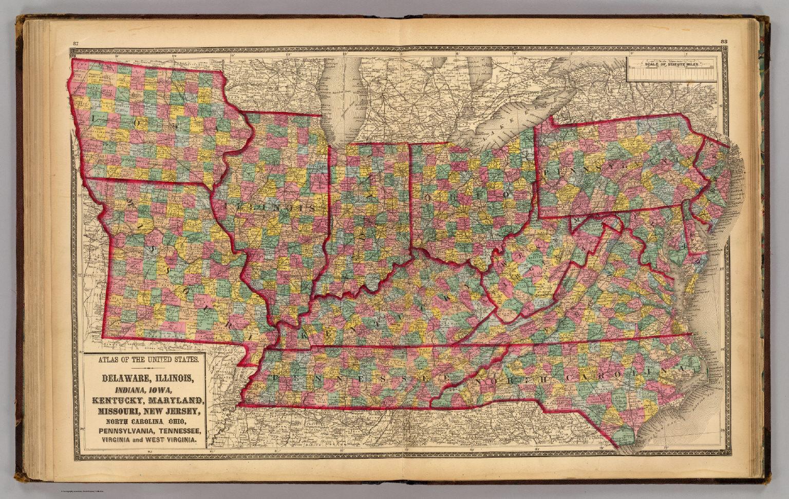 Map Of Ohio West Virginia And Pennsylvania.Delaware Illinois Indiana Iowa North Carolina Tennessee
