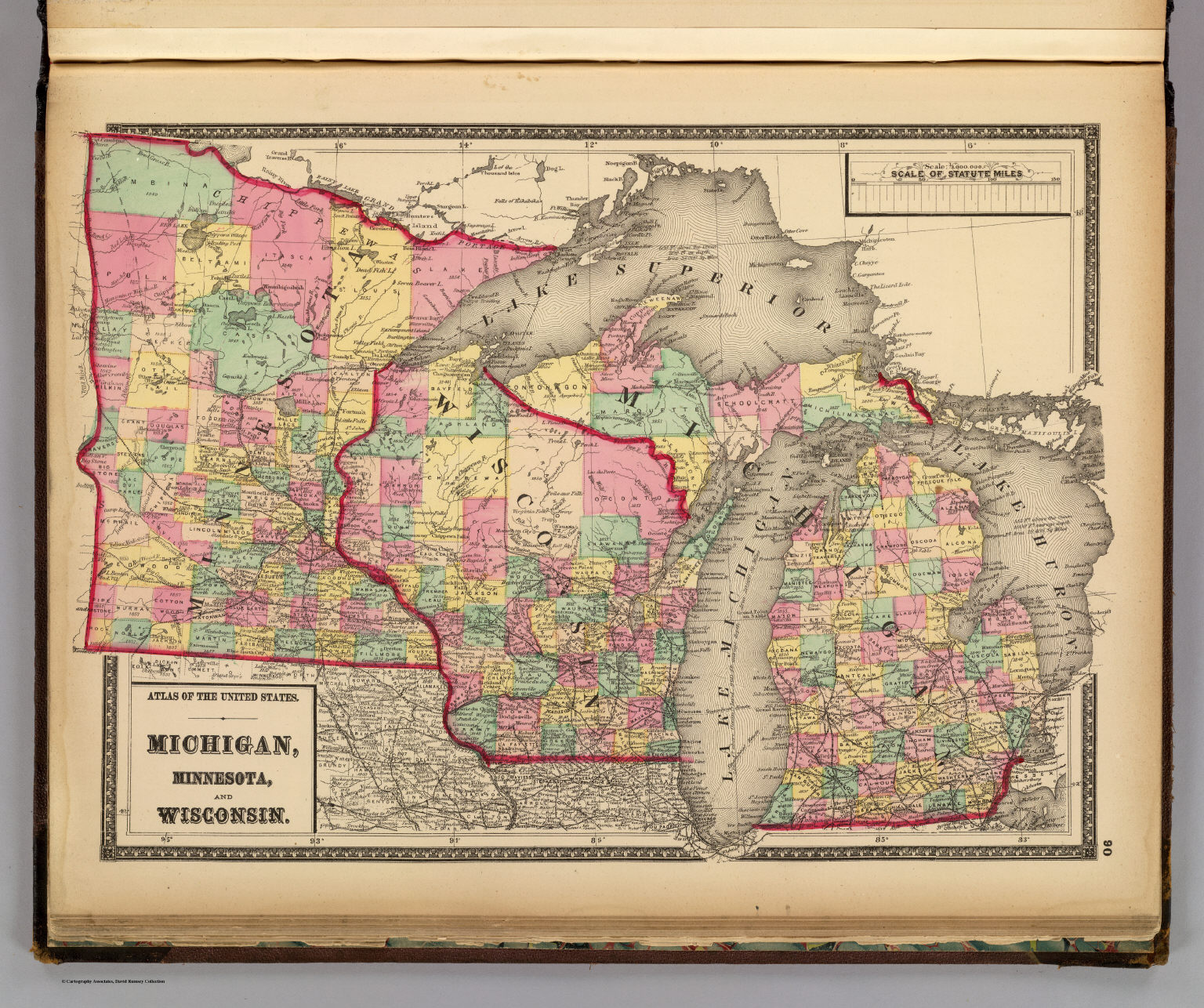 Michigan, Minnesota, and Wisconsin. - David Rumsey Historical Map ...