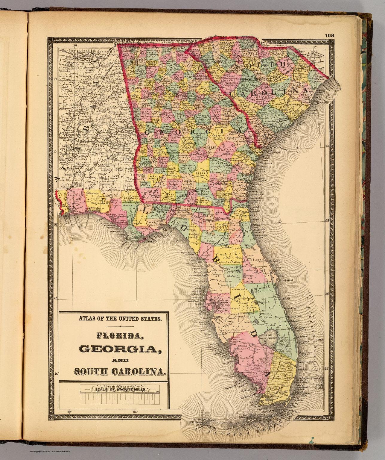 Map Of Georgia Florida And South Carolina.Florida Georgia And South Carolina David Rumsey Historical Map