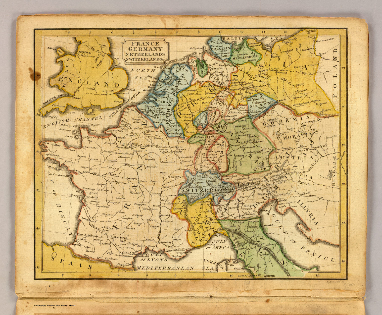 Map Of France Germany Switzerland.France Germany Netherlands Switzerland C David Rumsey