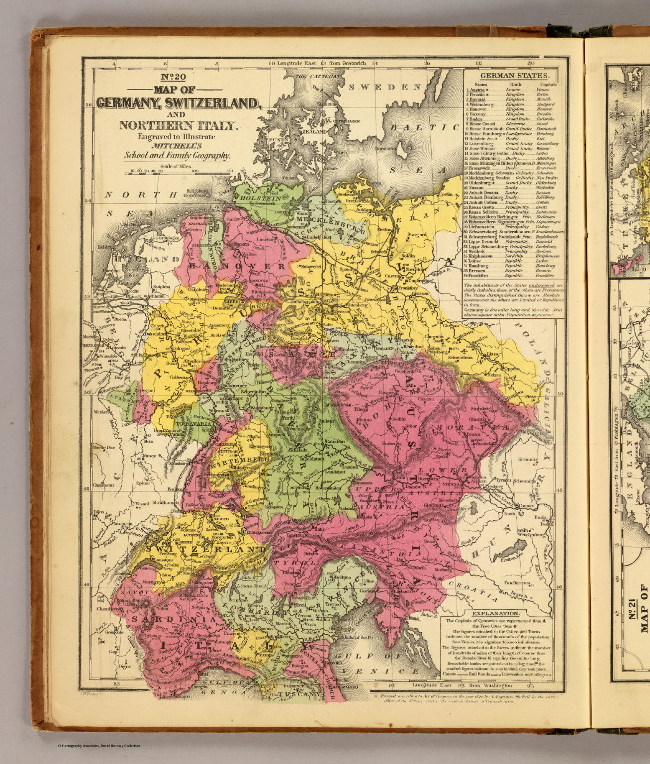 Map Of Germany Switzerland And Italy.Germany Switzerland N Italy Mitchell Samuel Augustus 1847