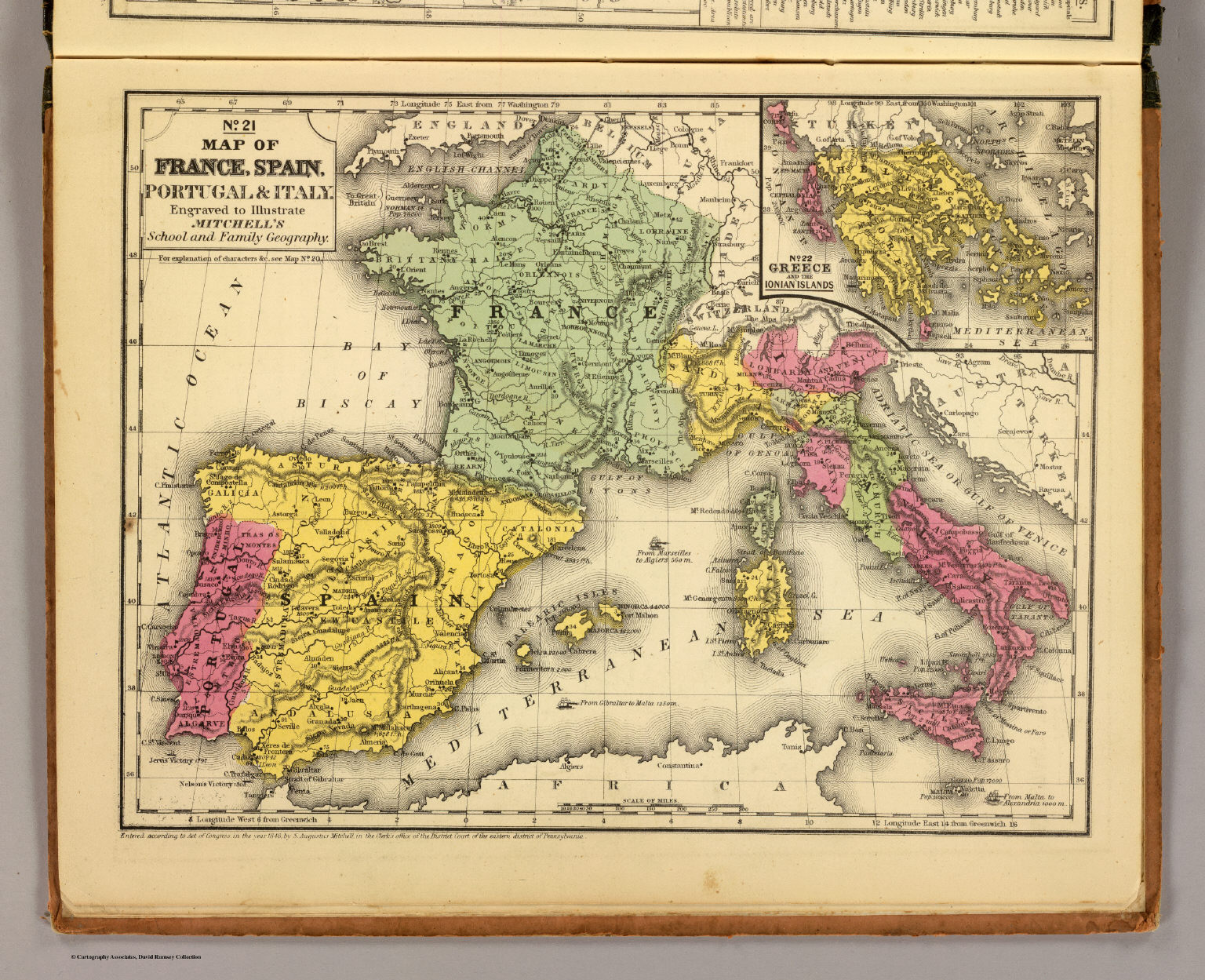 Map Of Spain And Portugal And France.France Spain Portugal Italy David Rumsey Historical Map Collection