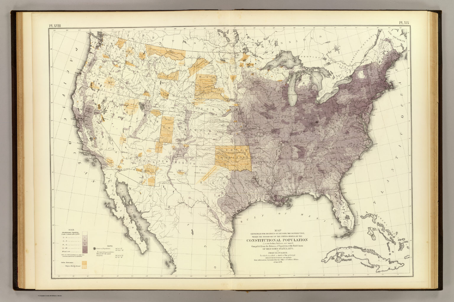 Us Population 1870 David Rumsey Historical Map Collection