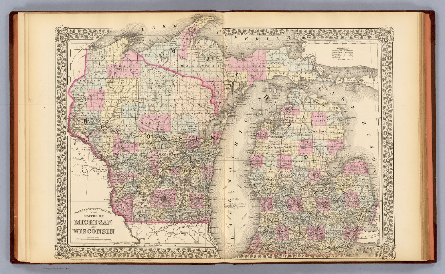 Michigan Wisconsin David Rumsey Historical Map Collection - Map of wisconsin and michigan