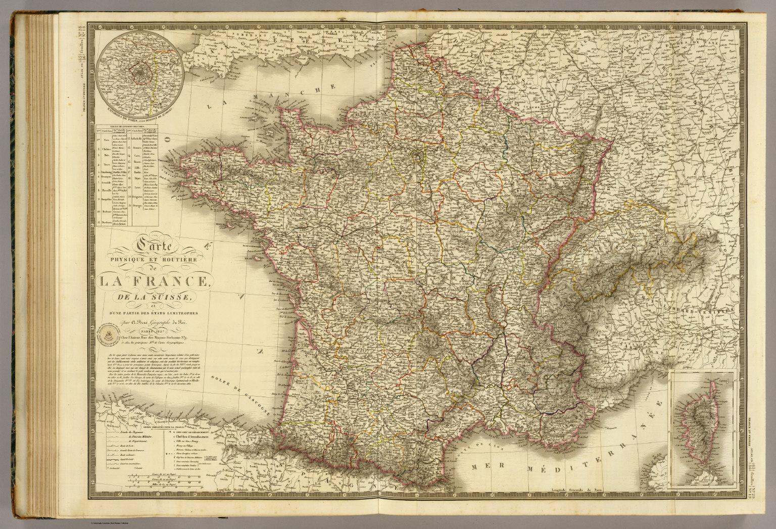 Carte physique et routiere de la France, de la Suisse.   David
