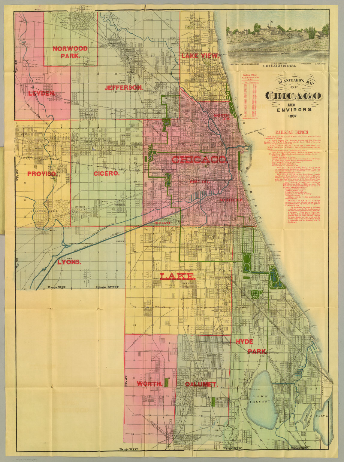 Blanchard\'s map of Chicago and environs. - David Rumsey ...