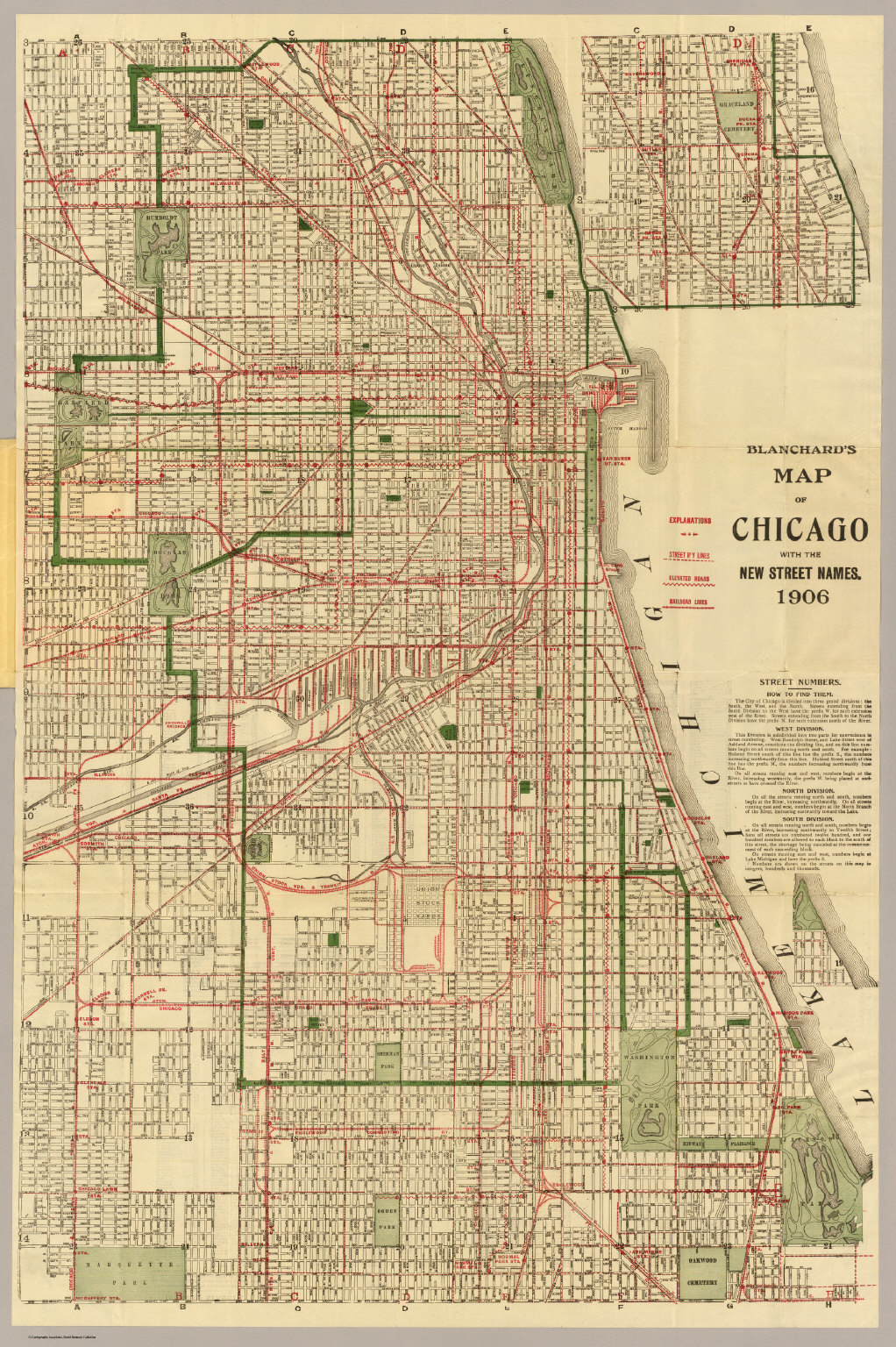 Chicago Street Map Blanchard's map of Chicago.   David Rumsey Historical Map Collection Chicago Street Map