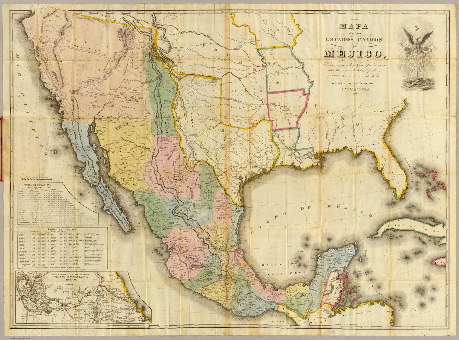 Mejico O Mexico Mapa.Mapa De Los Estados Unidos De Mejico David Rumsey