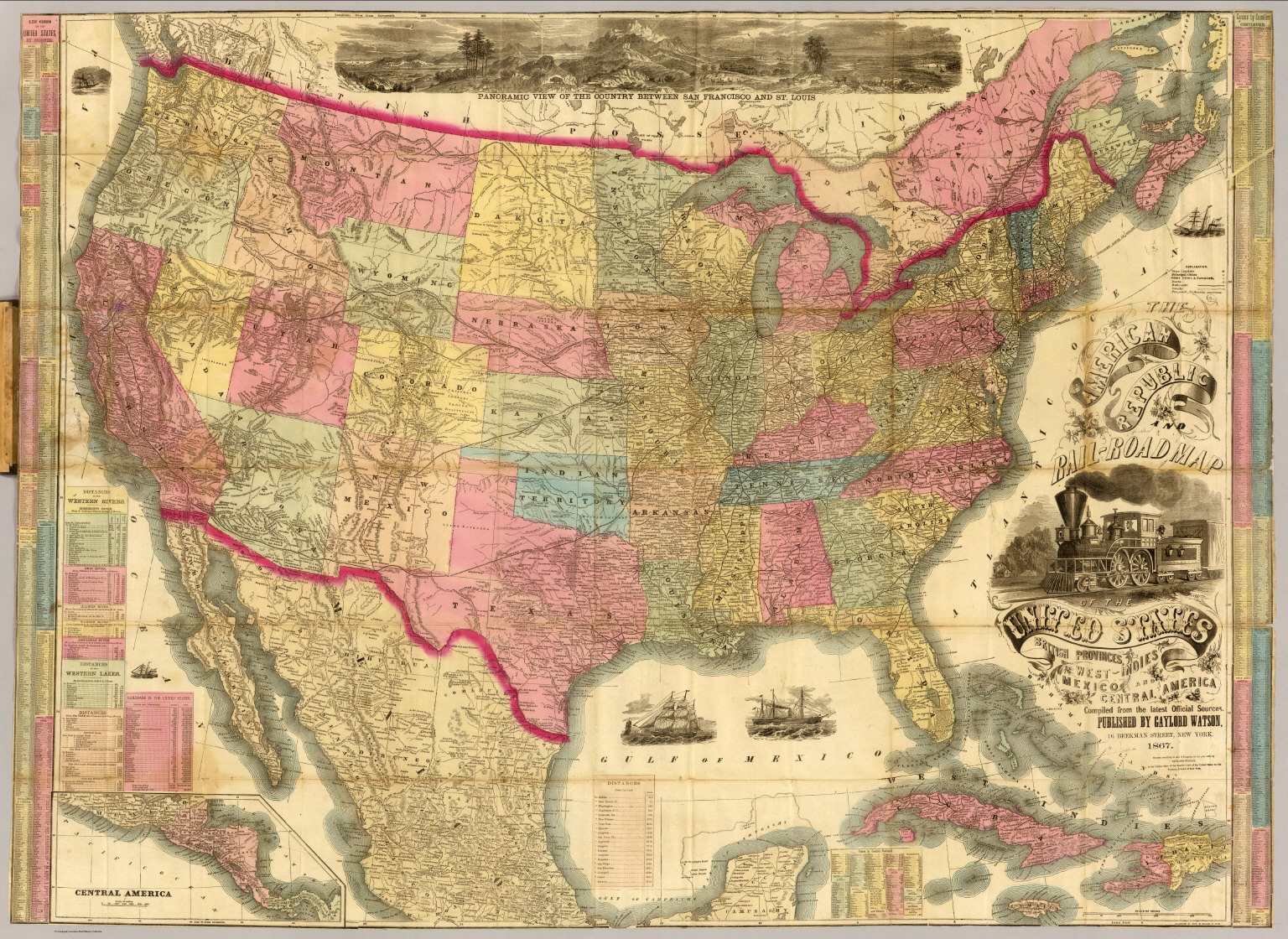 The American Republic and rail-road map of the United States ...