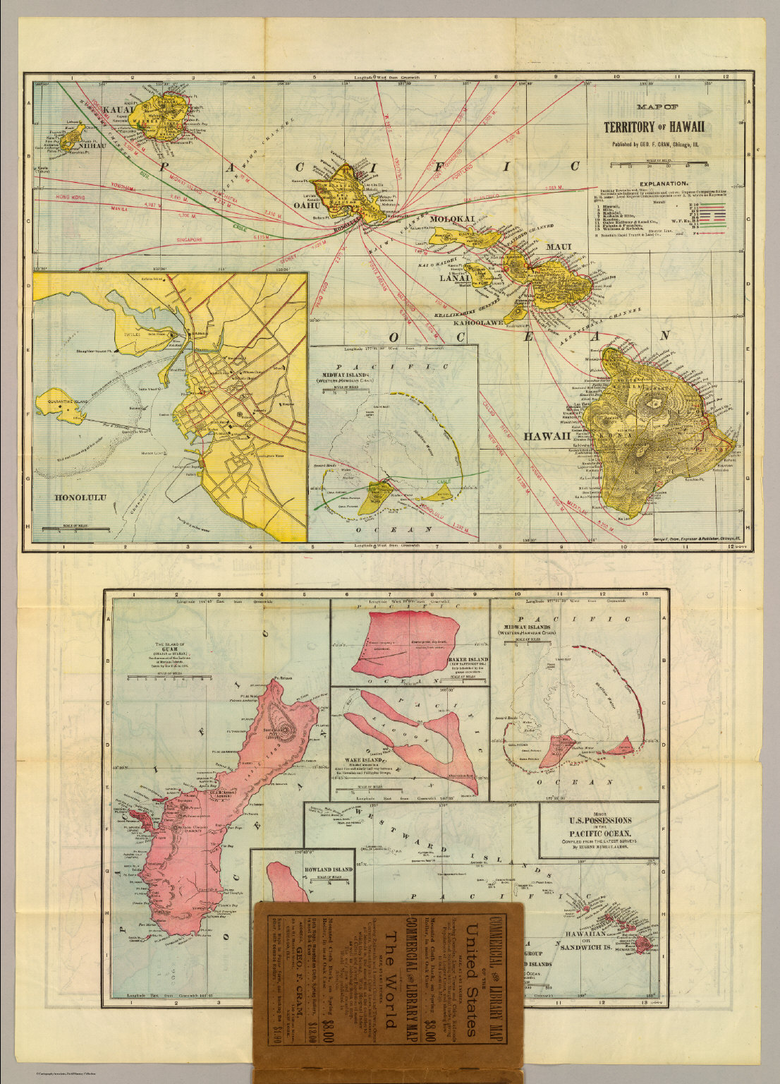 Hawaii Us Possessions Pacific Ocean David Rumsey Historical - Pacific-ocean-on-us-map