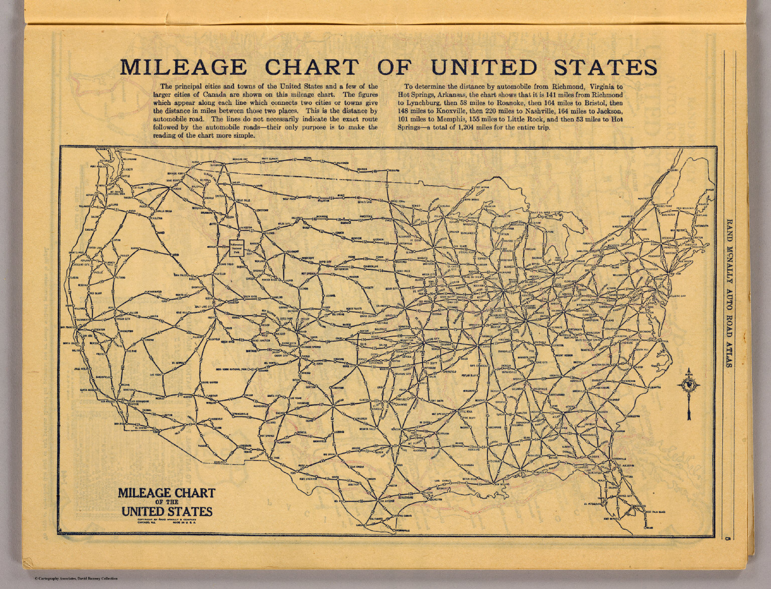 Us Map Mileage Chart Mileage chart U.S.   David Rumsey Historical Map Collection