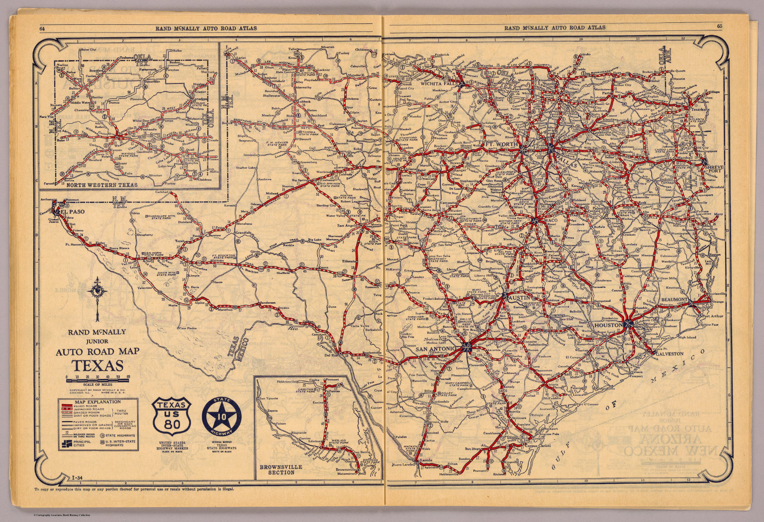 Old Texas Road Maps