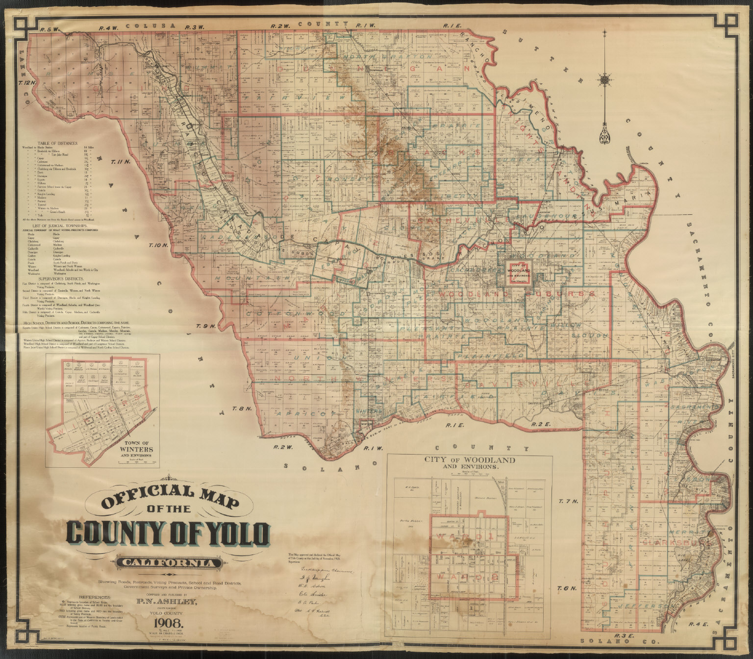 Official Map Of Yolo County California 1909 David Rumsey