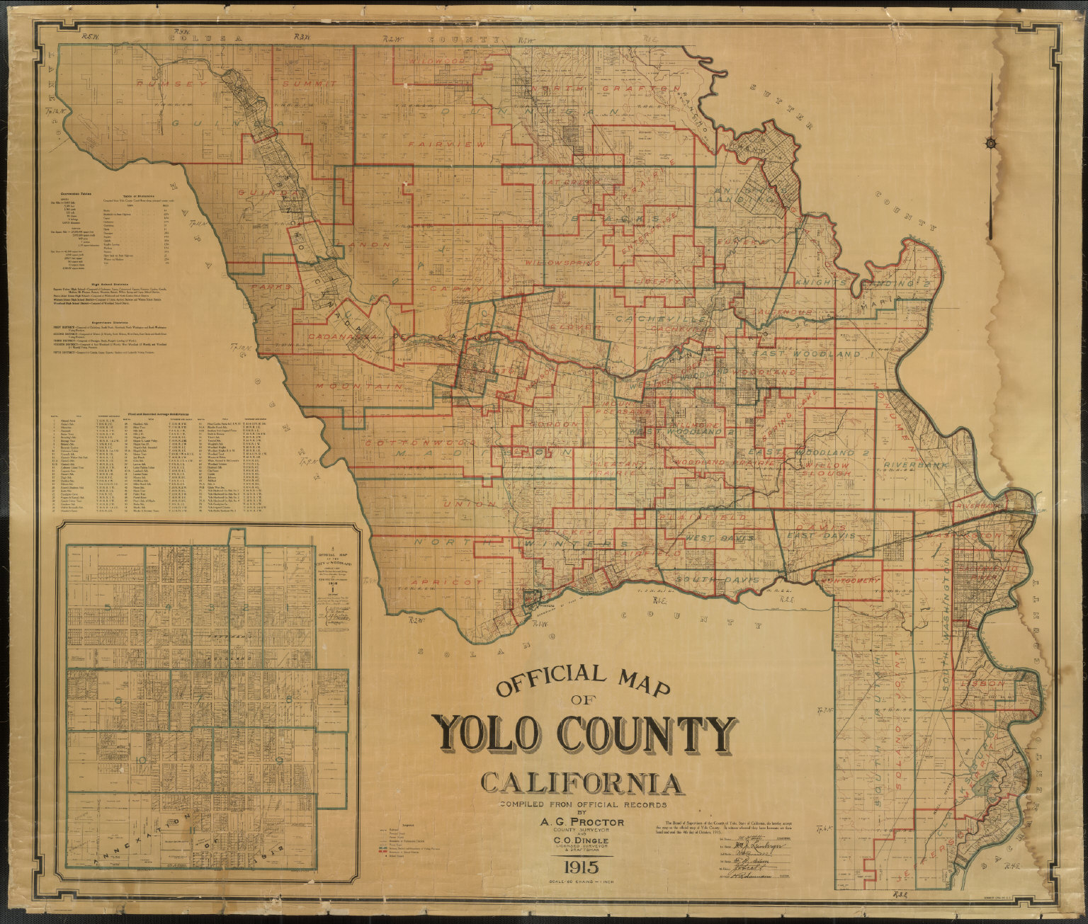 Official Map of Yolo County, California, 1915.   David Rumsey