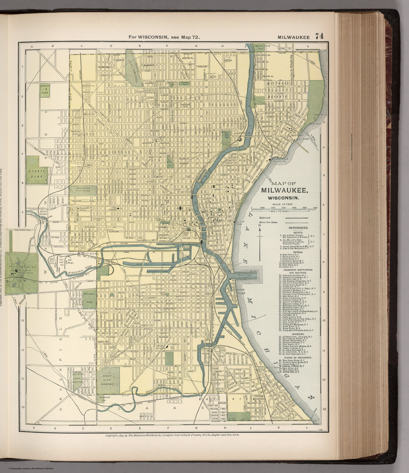 Map of Milwaukee, Wisconsin. 74 - David Rumsey Historical Map Collection