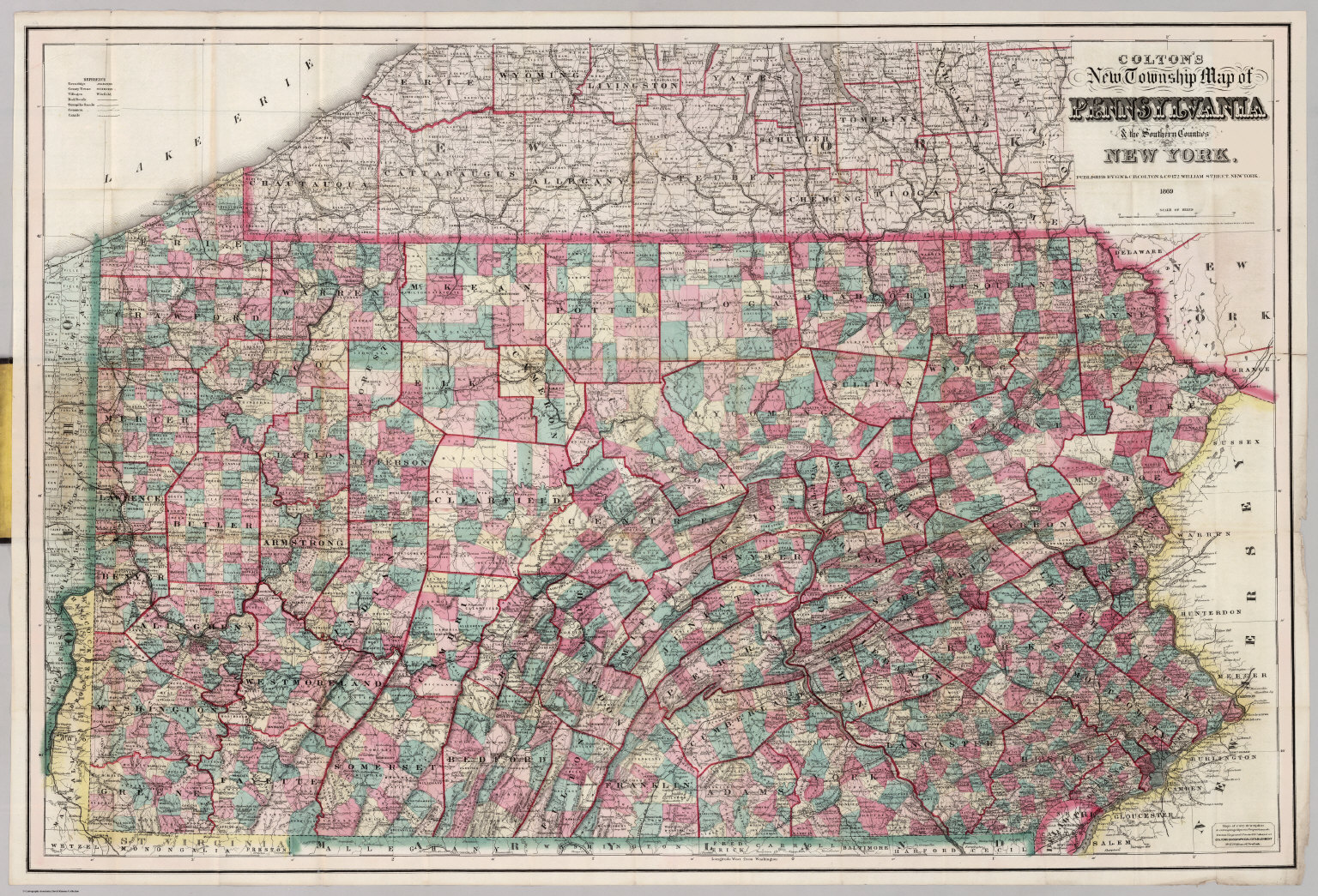 Counties New York Map.Pennsylvania The Southern Counties Of New York David Rumsey