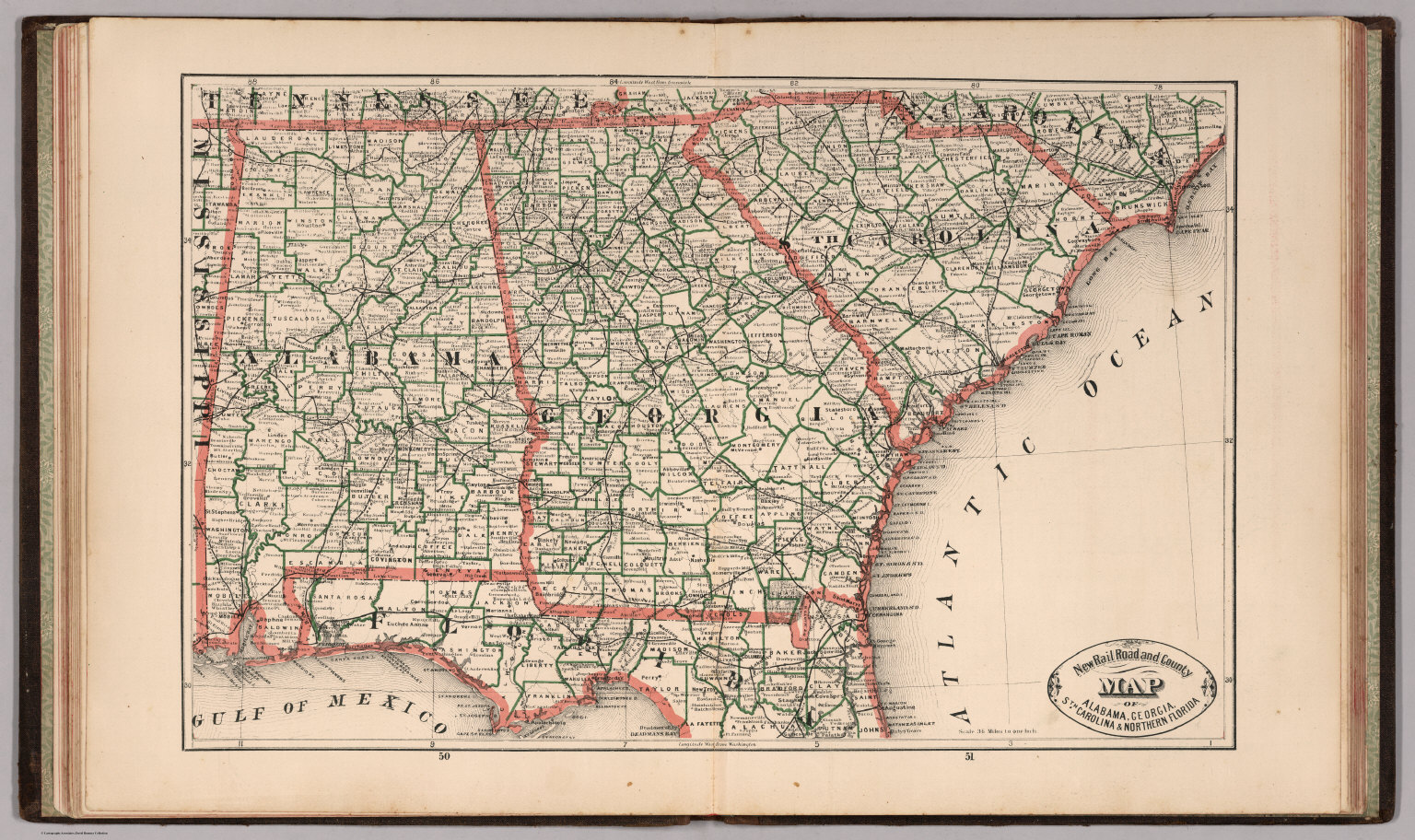 Florida And Georgia Map.New Rail Road And County Map Of Alabama Georgia South Carolina And