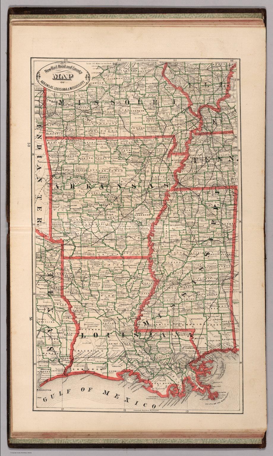 Arkansas And Louisiana Map.New Rail Road And County Map Of Arkansas Louisiana And Mississippi