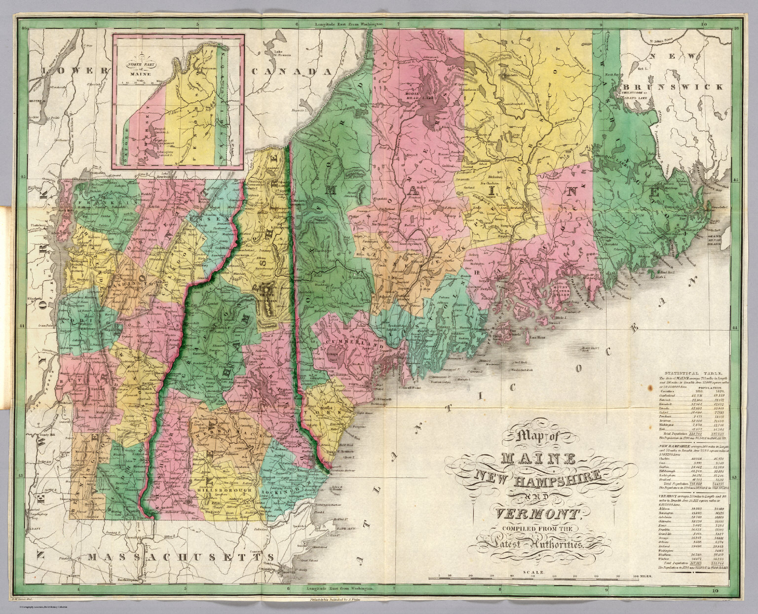 Maine New Hampshire Vermont David Rumsey Historical Map Collection