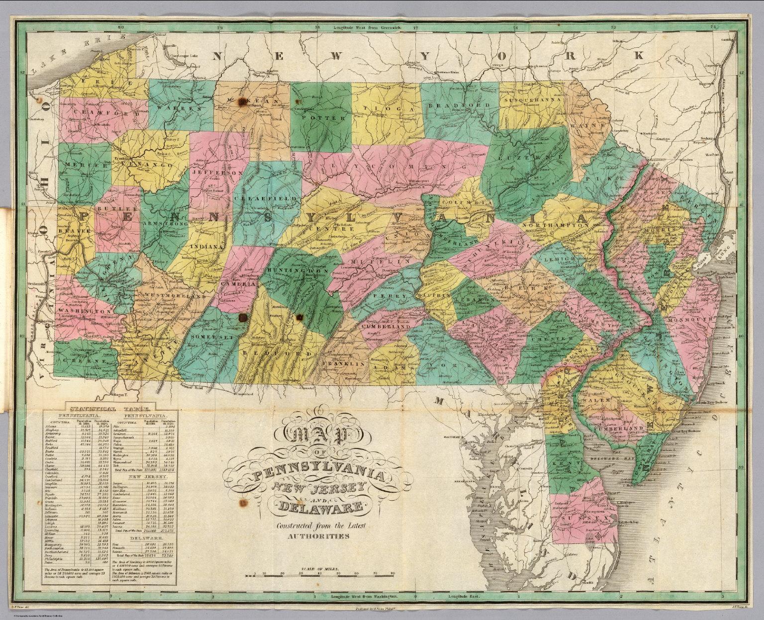 Pennsylvania New Jersey Delaware David Rumsey Historical Map