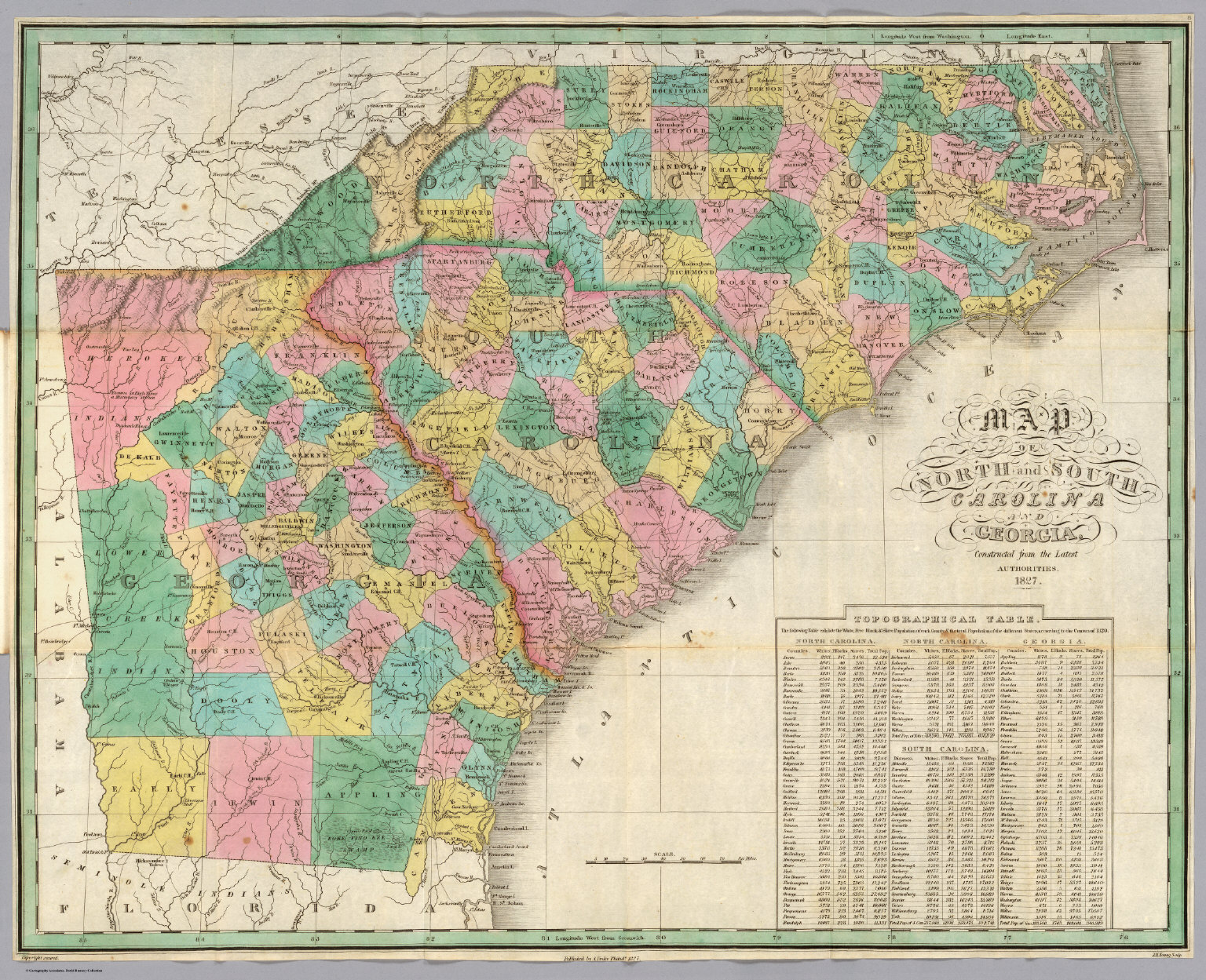 North South Carolina Map.North Carolina South Carolina Georgia David Rumsey Historical