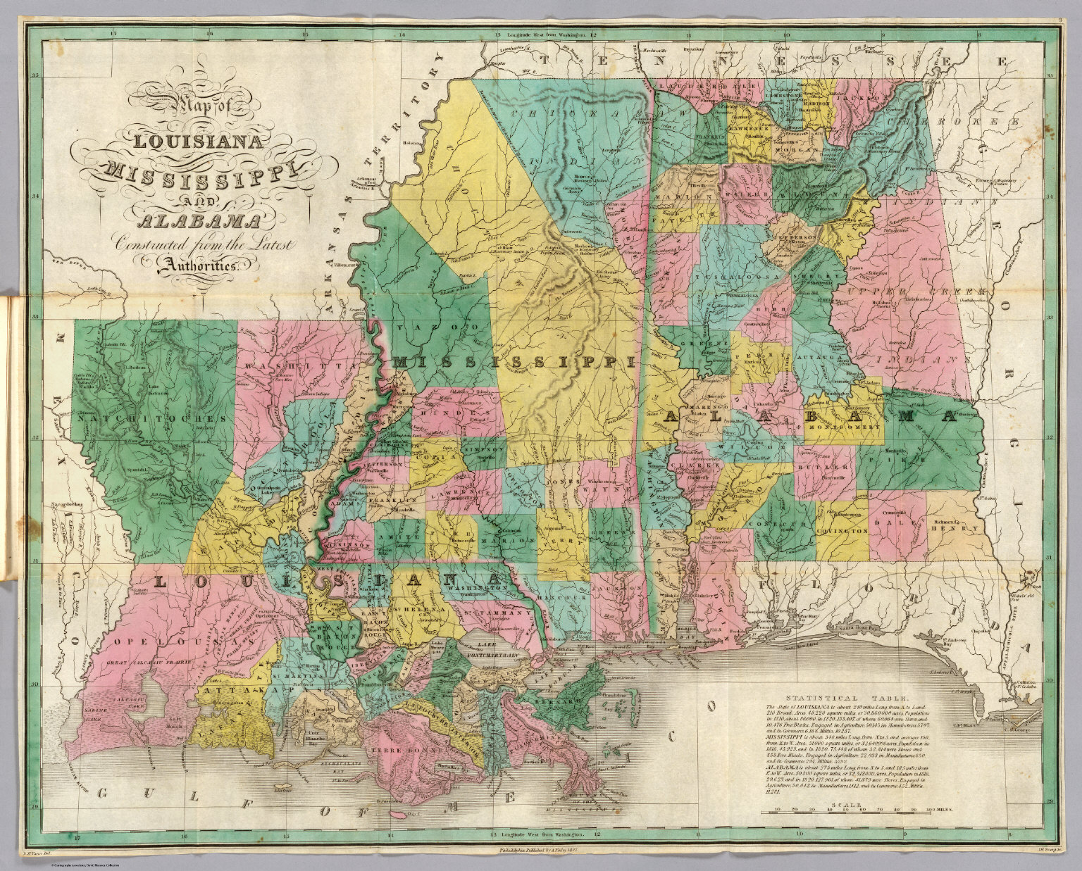 Map Usa Louisiana%0A Louisiana Mississippi Alabama David Rumsey Historical Map