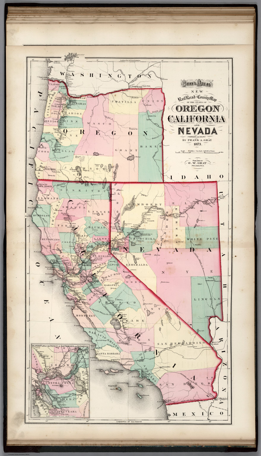 Map Of California To Oregon.Railroad And County Map Of Oregon California And Nevada David