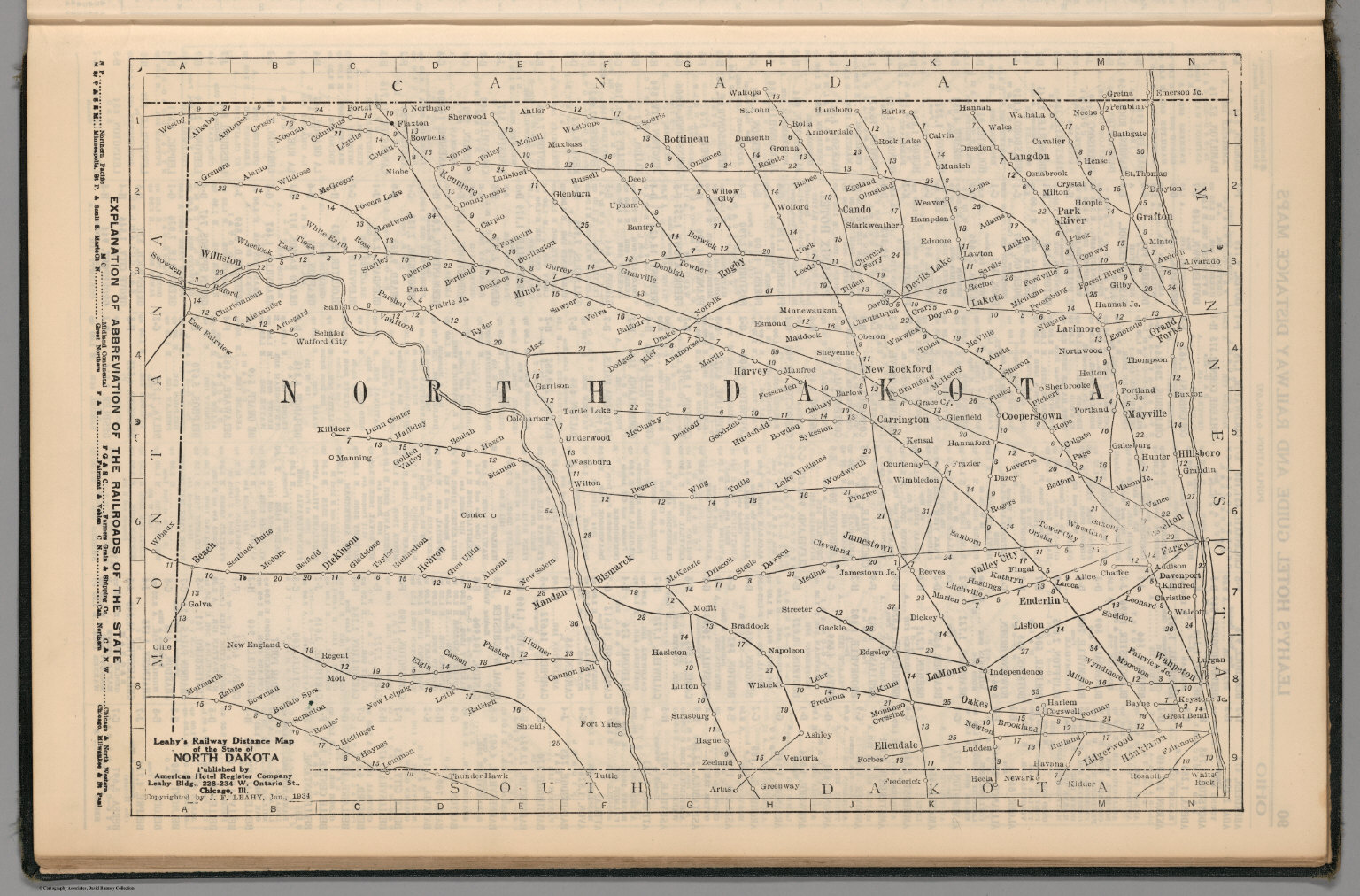 Fargo History Project Leahys Hotel Guide and Railway Distance Map