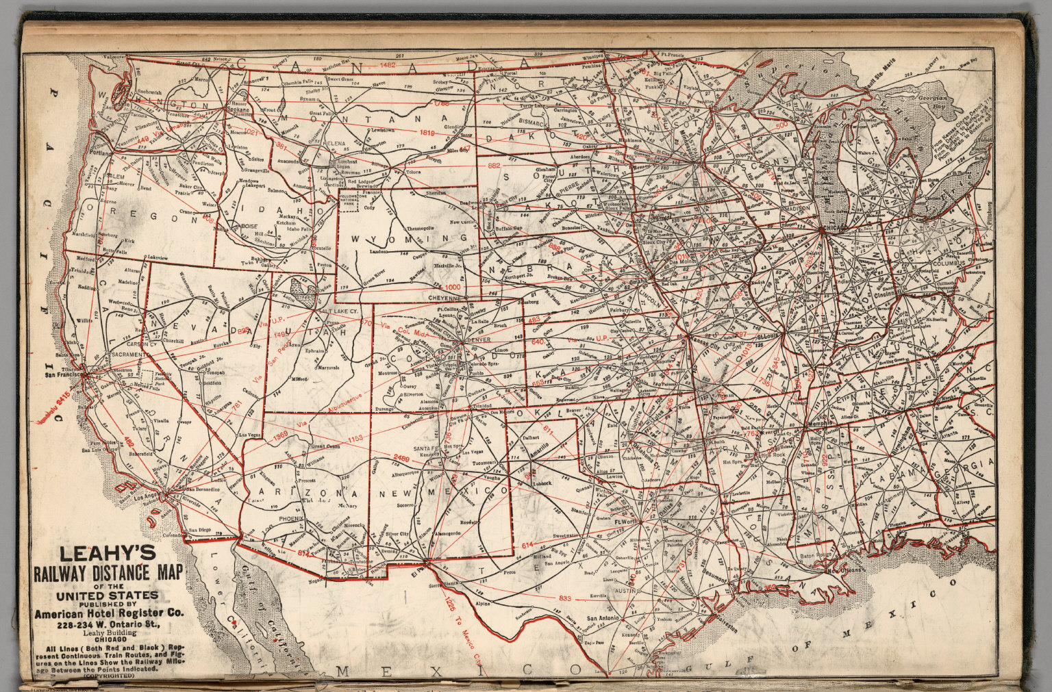 Leahys Railway Distance Map of the United States David Rumsey